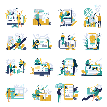 Set of business analysis icons with people characters color financial diagrams and mobile devices. Can use for web banner, infographics. Flat vector illustration isolated on white background.