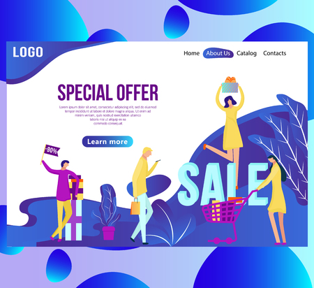 Web page design template for online shopping and sale. Discount, retail, and special offer concept. vector illustration for the website and mobile landing page development. Banco de Imagens