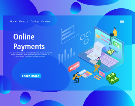 Web page design template for online payments, notification on financial transaction, mobile bank, the laptop with a paper bill. Electronic banking concept. Isometric vector illustration. Banco de Imagens