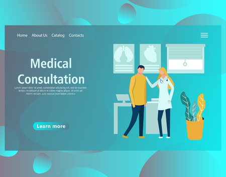 Web page design template for online medical support, health care, laboratory, dental services, a family doctor, diagnostic. Vector illustration for the website and mobile landing page