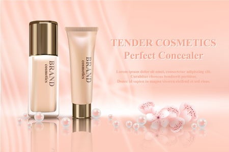 Realistic 3d mockup cosmetics advertising composition with containers and tubes decorated with pearls and flowers. Makeup concept. vector illustration