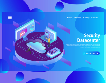 Web page design template for hosting and data center, big data processing, server room rack in isometric style. Vector illustration for the website and mobile landing page