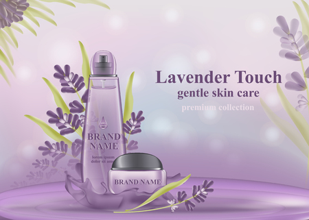 Cosmetic banner with 3d realistic bottles for skincare cream, body lotion, poster template mockup for promoting your brand. Beauty product concept. Containers and tubes decorated with lavender flowers
