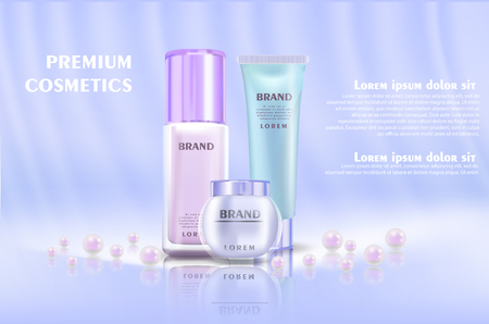 Cosmetic banner with 3d realistic bottles for skincare cream, body lotion, poster template mockup for promoting your brand. Beauty product concept. Containers and tubes decorated with pearls