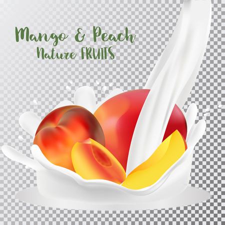 Peach and mango with a splash of milk. Fresh fruits and splashes, 3d realistic vector