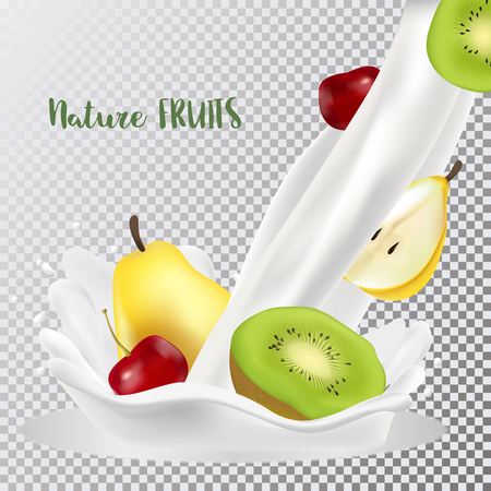 Cherry, pear and kiwi with a splash of milk. Fresh fruits and splashes, 3d realistic vector