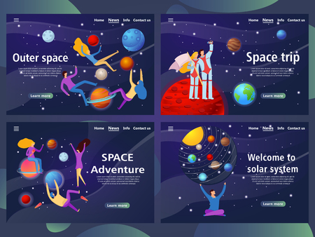 Website page templates for outer space and adventure. Landing page shows space around man. vector illustration
