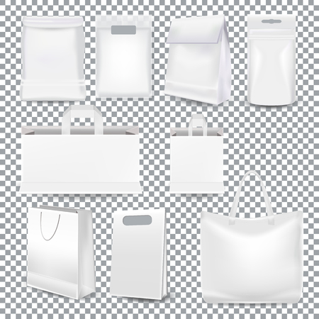 Set of realistic template white shopping bags with a handle and packaging made from white paper, plastic and canvas isolated on a transparent background. Mockup gift bag in Vector Vector Illustratie