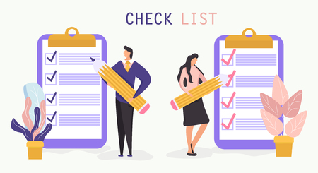 Checklist with a tick mark. A man and woman holds a pencil and stay near giant clipboard. Successful business concept. Vector illustration