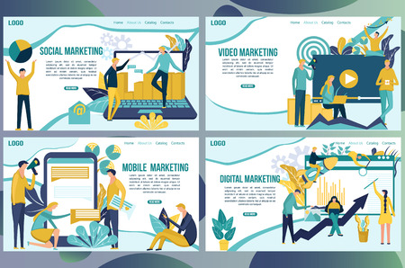 Web page design templates for social media marketing concept. People create promote products and services based on digital video and mobile apps. Landing page. Ilustração Vetorial