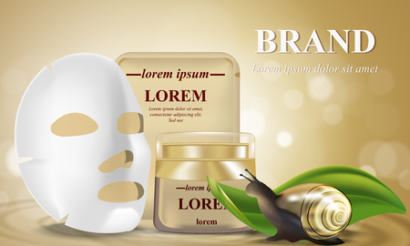 Cosmetic banner with 3d realistic bottles for skincare cream, with white sheet facial cosmetic mask. Poster template mockup for promoting your brand decorated snail.