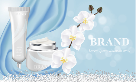 Cosmetic banner with 3d realistic bottles for skincare cream, body lotion, poster template mockup for promoting your brand. Beauty product concept. Containers and tubes decorated with orchid flower