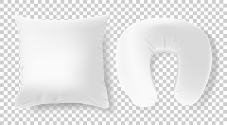 White 3d realistic pillows - square and road neck pillow. Template, mock up in vector Ilustração