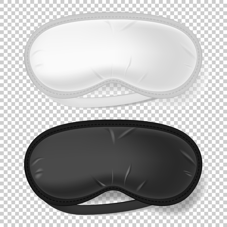 White and black blindfold. Realistic mock up of sleeping mask in vector