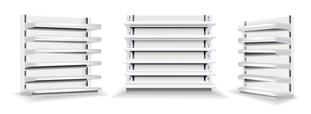 Vector set of white empty vertical display case. Trade stands shop racks with shelves