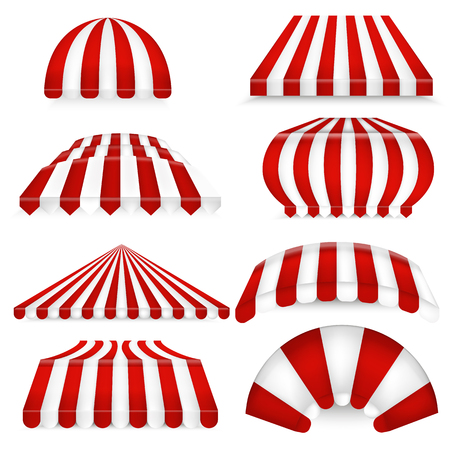 Vector set of red-white sunshades. Outdoors awnings for cafe and market.