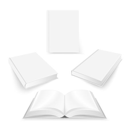 Set of white blank book cover template. Mockup design