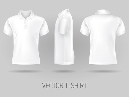 white short sleeve polo shirt design templates front, back, and side views . vector t-shirt mock up