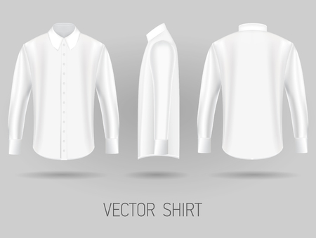 white short long sleeve shirt design templates front, back, and side views vector mock up