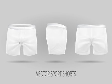 white shorts with ffront, back, and side views. mock up in vector