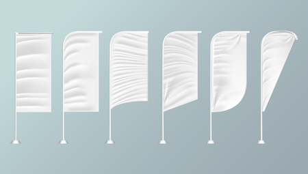 White textile outdoor feather flag. Advertising Banner. Realistic Mock Up Template. Illustration Isolated On Background. Ilustração
