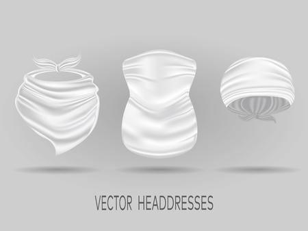 Bandane bianche per la testa, foulard al collo e camoscio. mock up vettoriale realistico