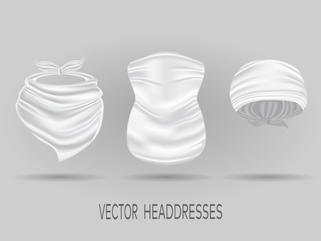 White head bandanas, neck scarf and buff. realistic vector mock up