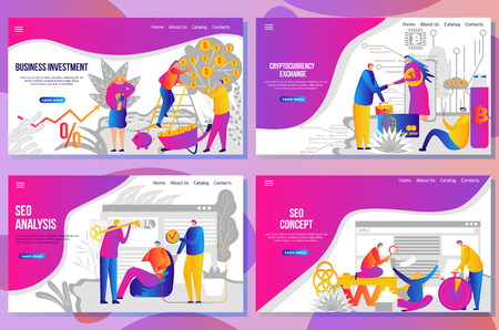 Set of web page design templates for seo development and cryptocurrency exchange, analysis and statistics, team building, consulting, business and finance. Vector illustration concepts for website and mobile website. Ilustração