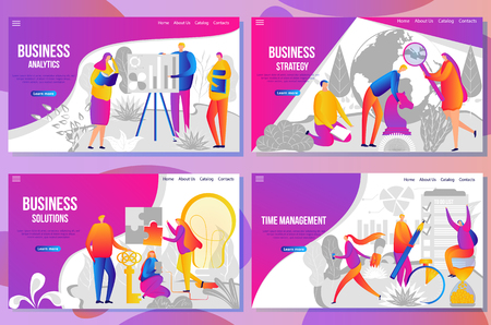 Set of web page design templates for business analysis and statistics, team building, consulting and strategy, time manager and finance. Vector illustration concepts for website and mobile website. Ilustração
