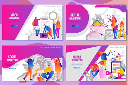 Set of web page design templates for social media marketing concept. People create promote products and services based on digital video and mobile apps. Vector illustration concepts for website and mobile website.