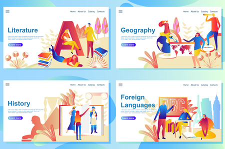 Set of web page design templates for subject in school. Literature, Geography, History and Foreign languages.