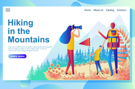 Web page design template for family tourism in the mountains. Ilustração