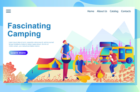 Web page design template for camping. Cartoon people resting together it the park.