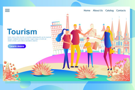 Web page design template for travelers visiting different countries, searching for places of interest.