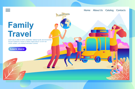 Web page design template for family vacation to the seaside. Funny weekend with children outside travelers visiting different countries, searching for places of interest. Vector illustration concepts for website and mobile website.