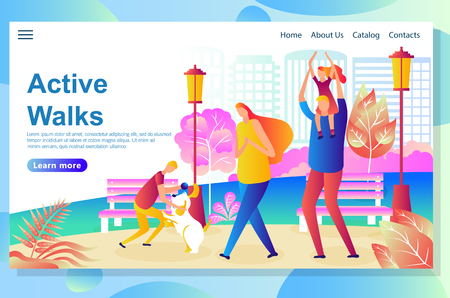 Web page design template shows Happy Family walk in the park, resting and playing with the dog. Spending great time together outdoors. Vector illustration concepts for website and mobile website. Ilustração