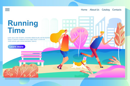 Web page design template shows Man and woman running in the park with a dog. Morning physical training