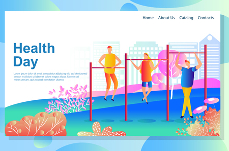 Web page design template shows Physical exercises of young people training outdoors. Improving their health and body in the fresh air. Vector illustration concepts for website and mobile website.