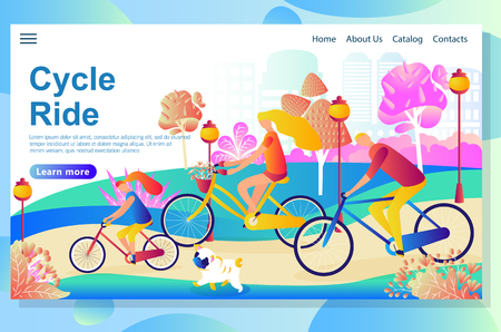 Web page design template shows Family riding the bicycles in the park , having fun and walk with the little dog. Improving their health and body in the fresh air. Vector illustration concepts for website and mobile website.