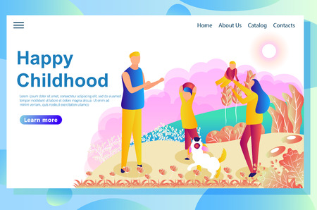 Web page design template shows happy couple playing with children on the lawn. Having good time together and walk with the little dog. Vector illustration concepts for website and mobile website.