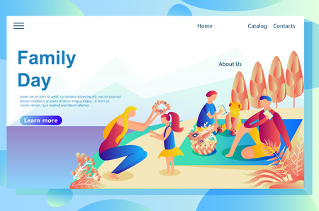 Web page design template shows family rest with the dog in the mountains. Playing together outside the home on the lawn. Ilustração