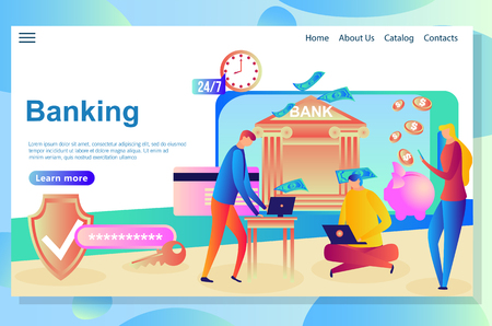 Web page design template for Internet Banking and financial institutions. Vector illustration flat concepts decorated people character concepts for website and mobile website.