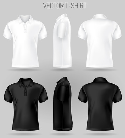 black and white short sleeve polo shirt design templates front, back, and side views . vector t-shirt mock up