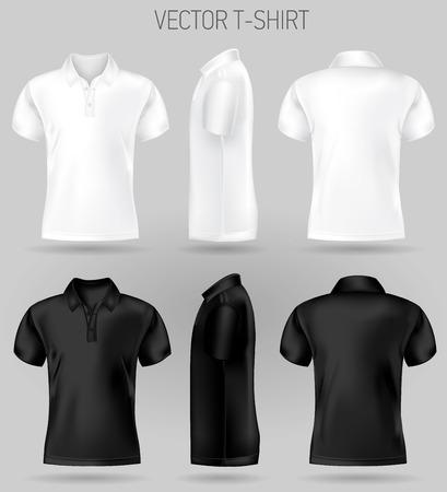 modelli di design polo manica corta in bianco e nero vista anteriore, posteriore e laterale. t-shirt vettoriale mock up