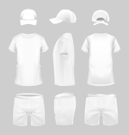 Weißes T-Shirt, Mütze und Shorts-Vorlage in drei Dimensionen: Vorder-, Seiten- und Rückansicht. Vektorgrafik