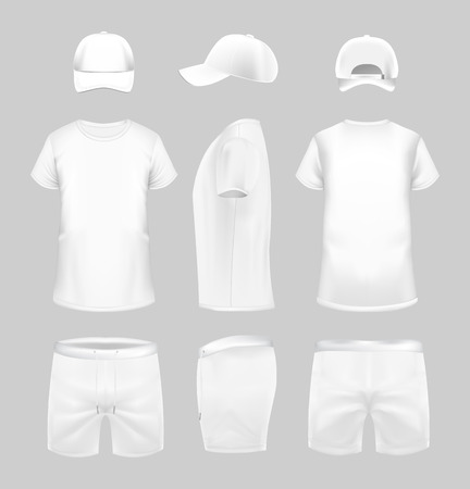 White t-shirt, cap and shorts template in three dimentions: front, side and back view. Banco de Imagens - 123120075
