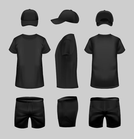 Black t-shirt, cap and shorts template in three dimentions: front, side and back view.