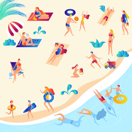 Illustration of the beach and people rest, swimming in the sea, sunbathing, reading books, talking, walking, surfing, playing volleyball, getting tan and having fun under the sun. Flat cartoon Banco de Imagens - 123120077