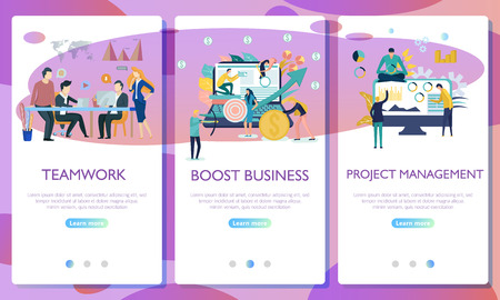 Set of web page design templates for business. Landing page shows the meeting and brainstorming, strategic partnership, crowdfunding and processing in the office or by the freelancer.