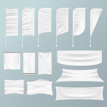 White textile advertising banners on an Isolated background. Realistic mockup vector illustration. Rectangle fabric frame.